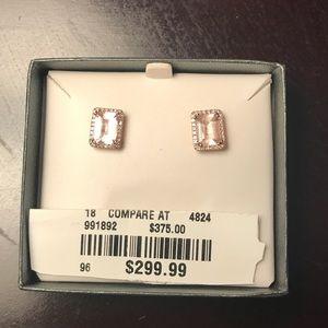 Morganite and diamond rose gold earrings